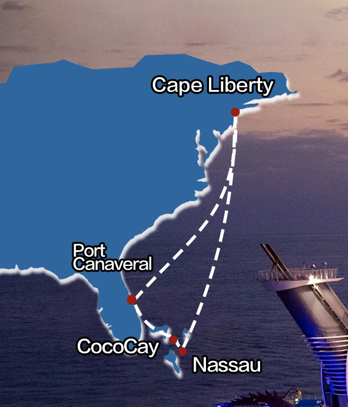 Royal Caribbean Oasis of the Seas New Jersey-The Bahamas_map