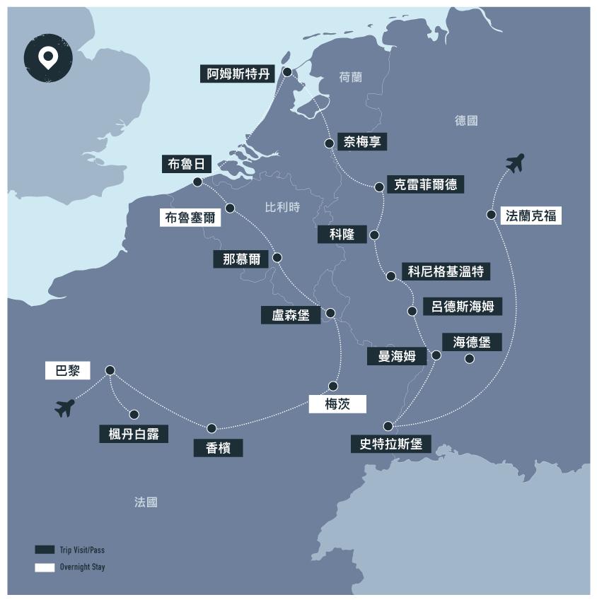 Rhine Cruise-Northwest Europe_map