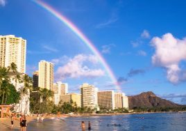 Rainbow over Waikiki Beach, HI