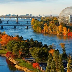 Canada, Quebec Province, Montreal, Sainte Helene Island and Notre Dame in the foreground on Saint Laurent River, Biosphere, former American pavillion for the exibition of 67 by architect Richard Buckminster Fuller